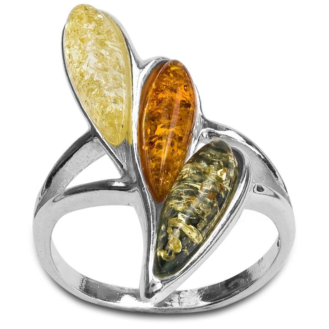 Noda anillo de plata con ámbares multicolores Gota 32574