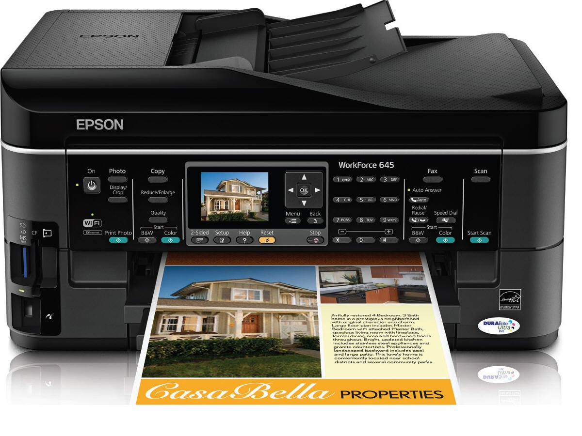 Amazon.com: Epson WorkForce 645 Wireless All-in-One Color Inkjet Printer,  Copier, Scanner, Fax, iOS/Tablet/Smartphone/AirPrint Compatible  (C11CB86201): ...