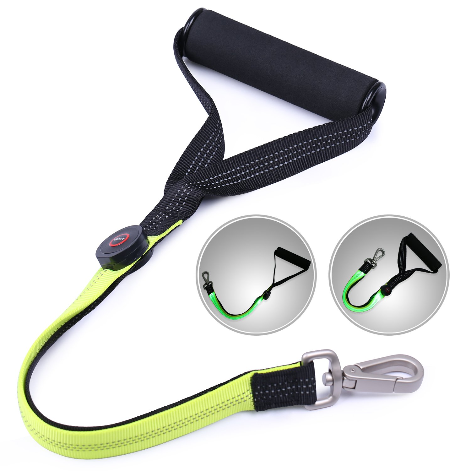Fluorescent green AISITIN Heavy Duty Dog Leash, LED Strong Rope Reflective Nylon Night Pet Leash with Comfortable Padded Handle Durable Safety Lighted Dog Leashes for Night Walking Training Medium Large Dogs (Green)