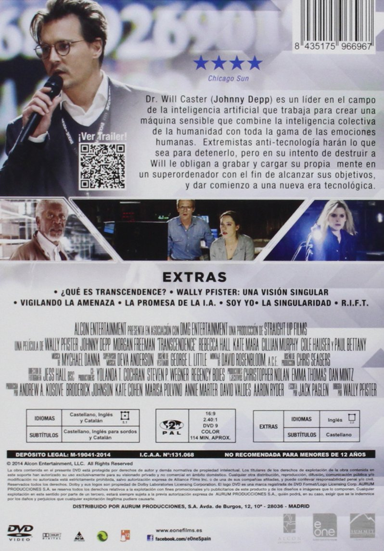 Transcendence [DVD]: Amazon.es: Johnny Depp, Rebecca Hall, Wally Pfister: Cine y Series TV