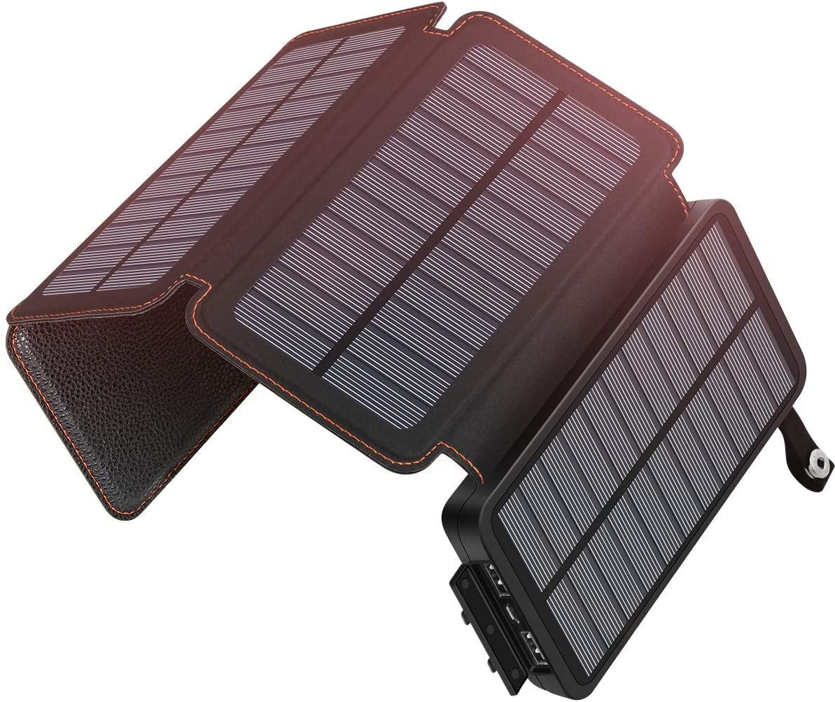ADDTOP Solar Charger 25000mAh Waterproof Power Bank with 4 Solar Panels Portable Battery Pack for iPhone, iPad, Samsung and Smartphone