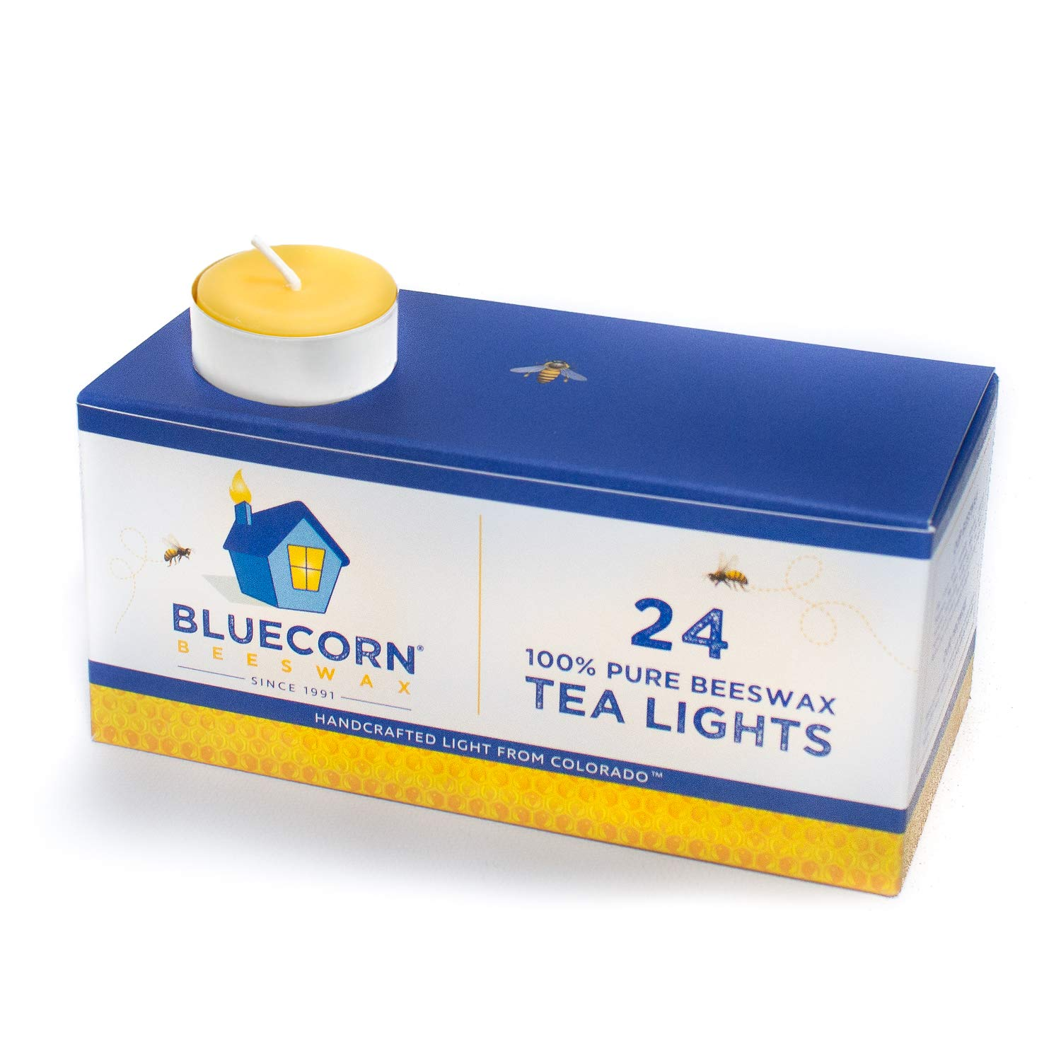 Bluecorn Beeswax 100% Pure Beeswax Tea Lights - Metal Cups (Raw, 24-Pack)