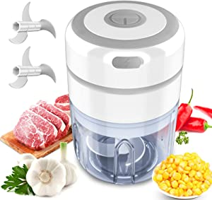 Automatic Food Chopper,Mini Food Processor,Electric Small Food Processor,Automatic Food Chopper For Garlic,Onion,Veggie,Fruit,Salad Mince/Puree 250ML with Two Stainless Steel Blade