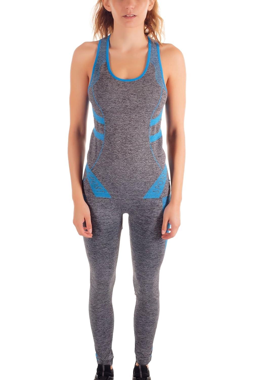 Aamenta Damen Fitness Set 2 teilig Bestehend aus Leggings und Tanktop, Yoga Set, Trainingsanzug, 015-105 015-105-Blau