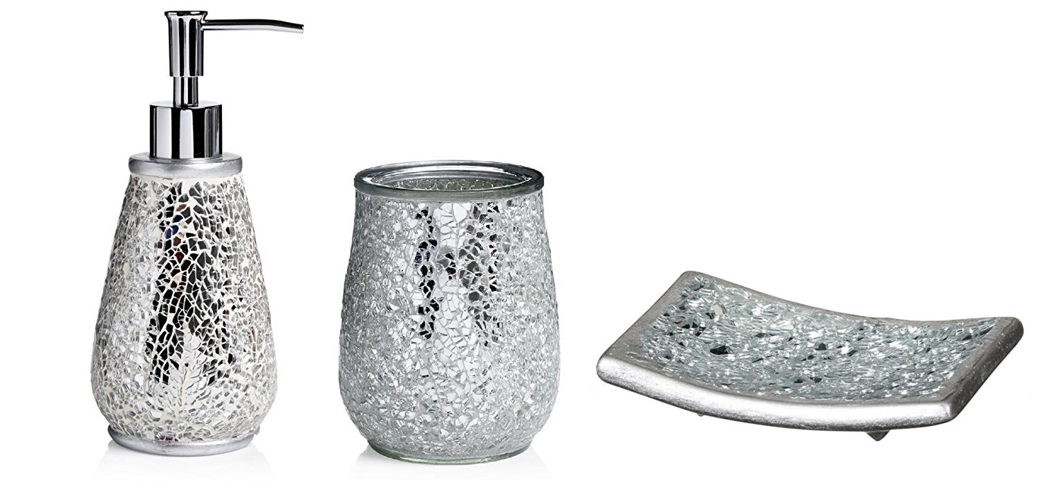 amazing Silver Crackled Mosaic 3 piece Bathroom Accessory Set 278652