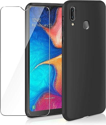 Coque Samsung Galaxy A50 Protection d'écran en verre trempéTexture de Fibre de CarboneÉtui Housse en Silicone Doux Mince