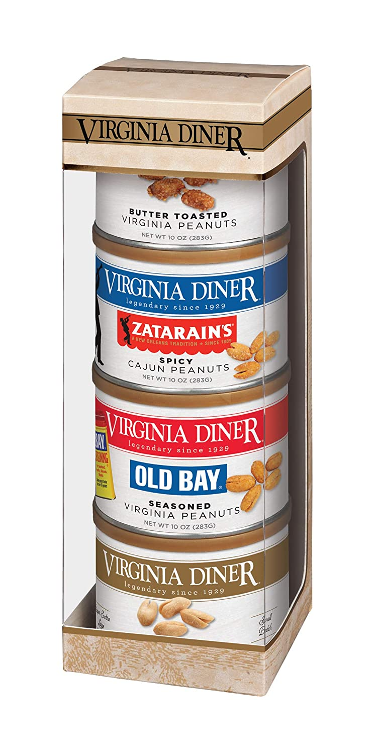 Virginia Diner - Tower of Traditions Gift Set (Salted, Butter Toasted, Smoked Cajun, & Old Bay Seasoned Virginia Peanuts), Four 10 Ounce Tins