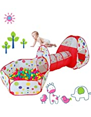 Play Tents Kids Ball Pit Children 3 in 1 Play Tunnel Kids Portable Pop up Playhouse with Tunnel Perfect for Baby Indoor and Outdoor Playground Colorful Polka Dot with Zippered Storage Bag