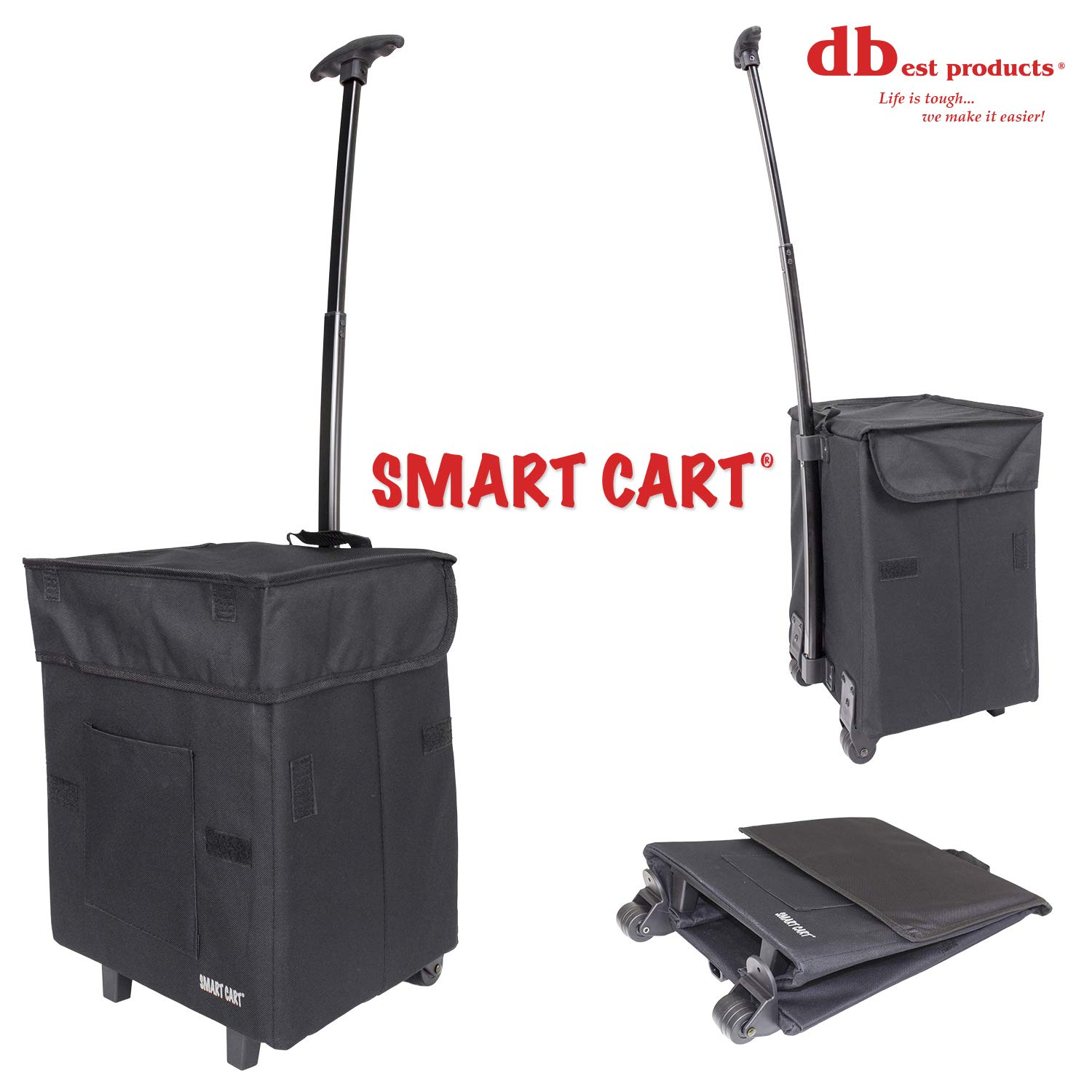 dbest products Smart Cart Rolling Multipurpose Collapsible Basket Scrapbooking Blackout