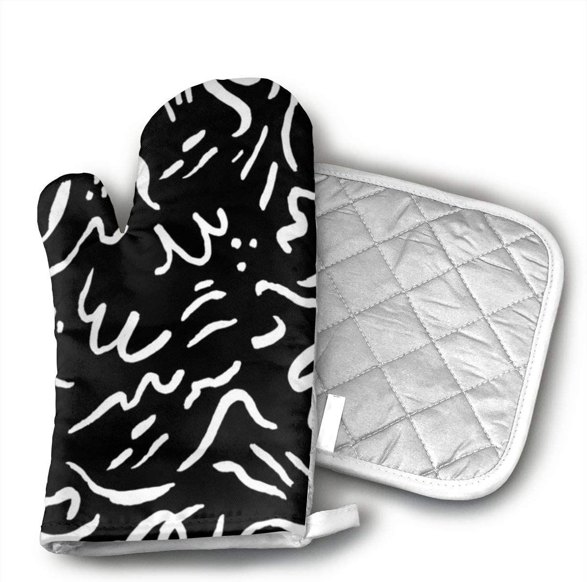 JHUIN Patterns - Will Bryant Studio Insulation Gloves,1 Pair of Non Slip Kitchen Oven Gloves for Cooking,Baking,Grilling,Barbecue Potholders