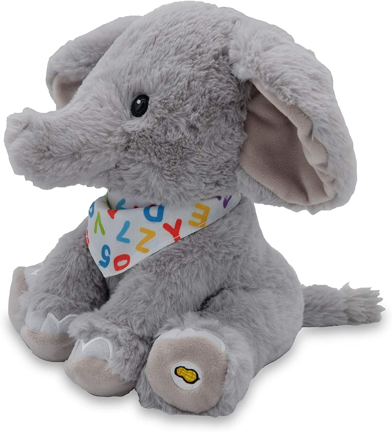Animated Singing Elephant Stuffed Animal Plush Toy Wiggles Ears to ABC Song and Ten Little Elephants Alphabet Elroy Cuddle Barn 12 Inches