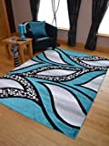Super Verso Teal Blue Modern Hand Carved Dense Rug. Available in 6 sizes (120cm x 170cm)