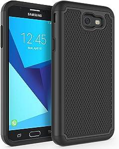 Case for Samsung Galaxy J7 V 2017 (1st Gen)/ Galaxy J7 2017 / Galaxy J7 Prime/Galaxy J7 Perx/Galaxy J7 Sky Pro/Galaxy Halo, SYONER [Shockproof] Defender Phone Case Cover [Black]