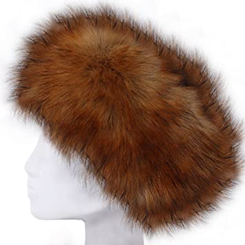 Amazon.com  VANDOT Faux Fur Headband Women Ladies Girls Winter Warm Luxury  Ski Head Ear Warmer Earmuff Ski Hat Pompom Hair Band Scarf Neck Warmer ... 62070c7ab32b