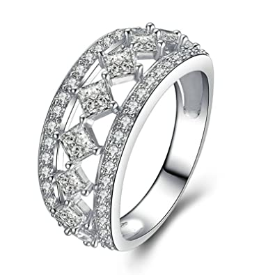 2dcd2ea7c6dfe Amazon.com: Aooaz Jewelry Wedding Ring Silver Material Hollow Square ...