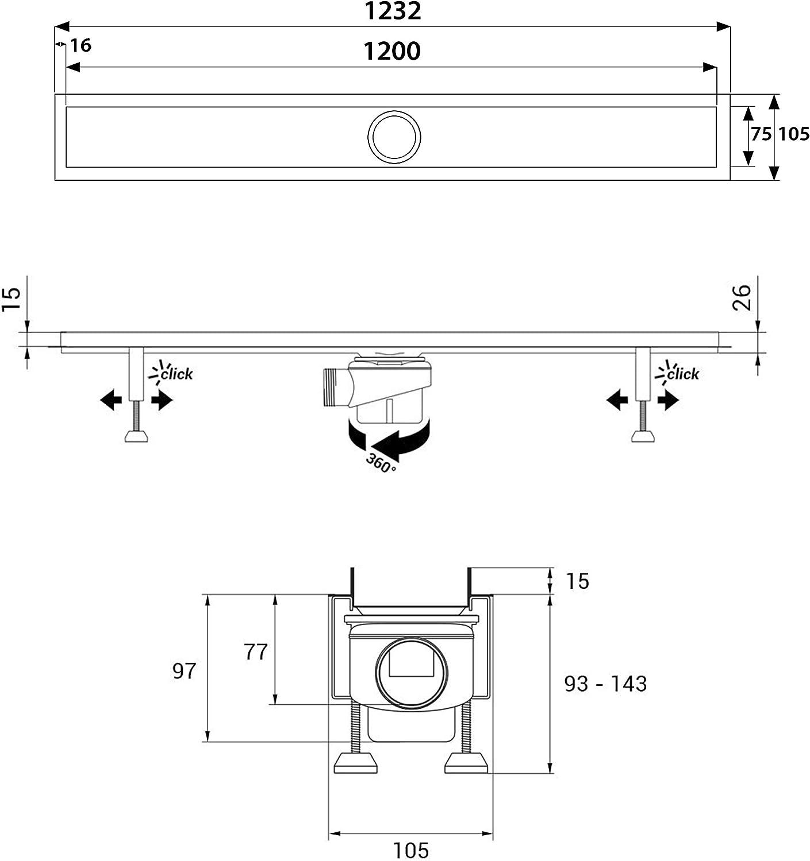 Couvercle//grille nest pas inclus! Viega siphon horizontal y compris Caniveau de douche 60 cm AQUABAD/® SDS Pro en acier inox avec filtre-cheveux et clapet anti-remont/ée dodeur