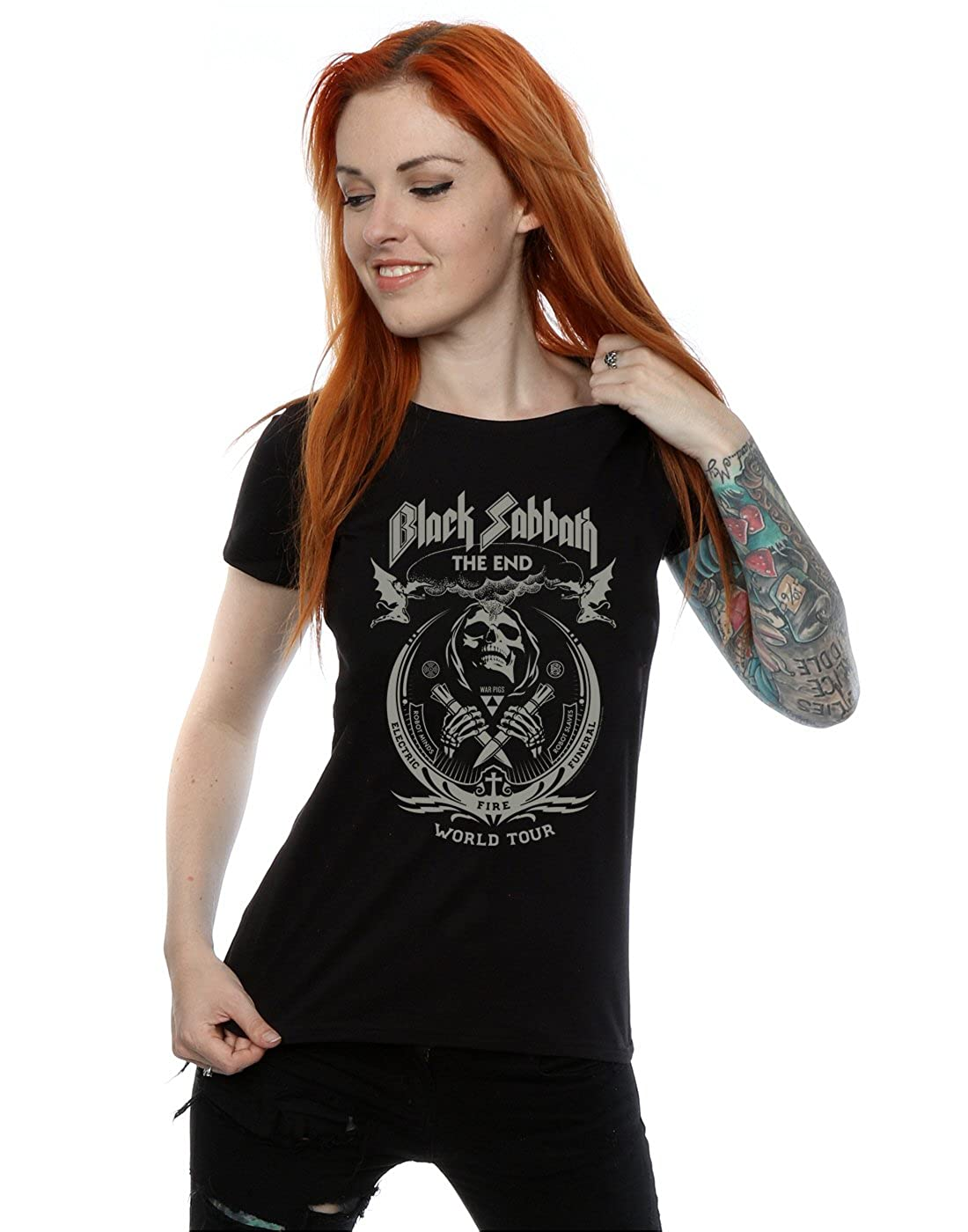 146a6dbfe1 Amazon.com  Black Sabbath Women s The End World Tour T-Shirt  Clothing