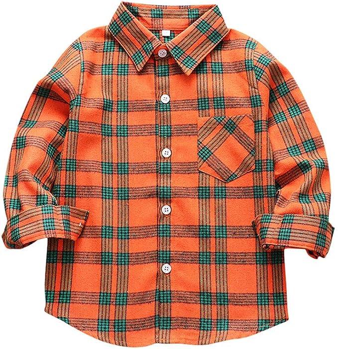 Tortor 1Bacha Camisa de Franela a Cuadros para niños pequeños de Manga Larga (Naranja Verde, 7-8 años): Amazon.es: Ropa y accesorios