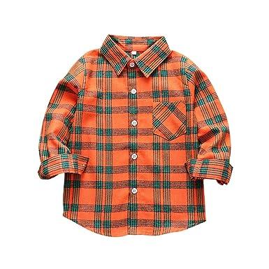 Tortor 1Bacha Camisa de Franela a Cuadros con Botones de Manga Larga para niños y niñas