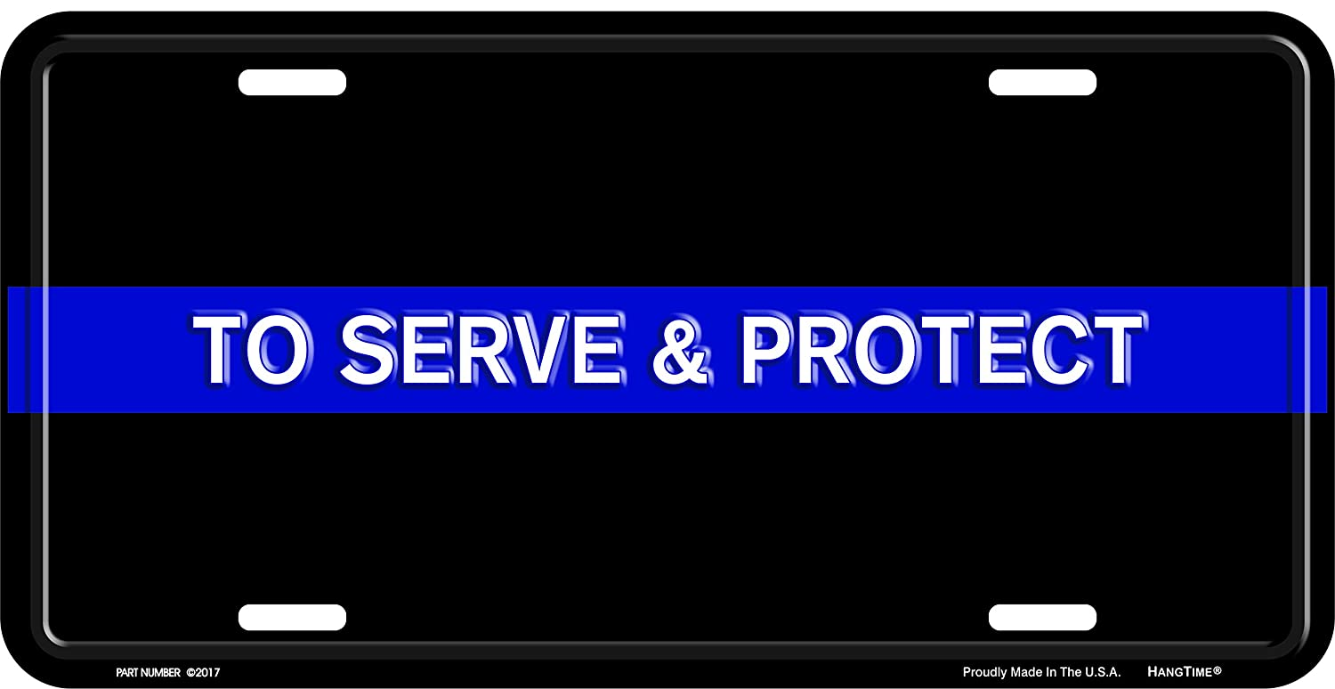 HangTime Police Blue Line to Serve and Protect Metal License Plate