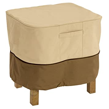 Classic Accessories Veranda Square Patio Ottoman/Side Table Cover   Durable  And Water Resistant Patio