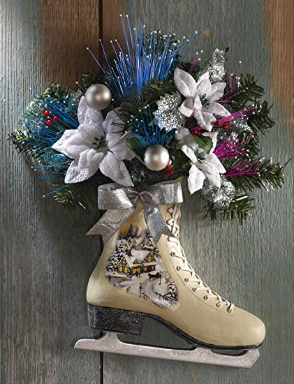 collections etc victorian winter ice skate door decor - Ice Skate Christmas Decoration