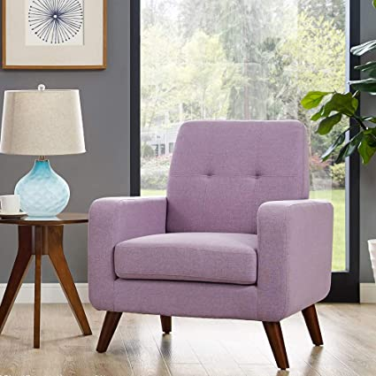 Dazone Modern Upholstered Accent Chair Comfy Armchair Tufted Button Linen  Fabric Single Sofa Arm Chair Living Room Furniture Purple 2019 Updated