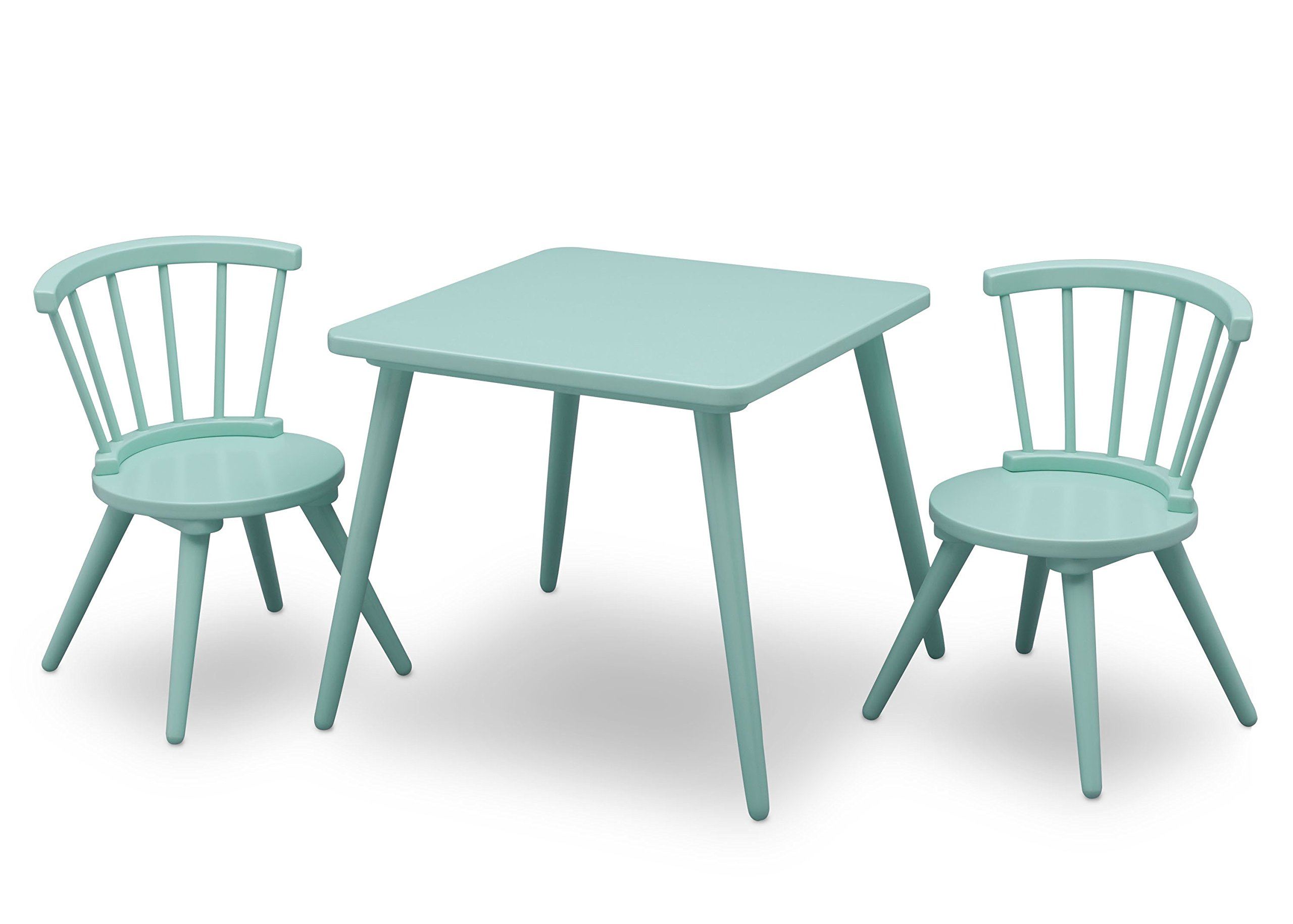 Delta Children Windsor Kids Wood Chair Set and Table (2 Chairs Included), Aqua by Delta Children