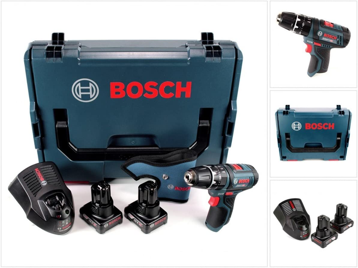 Bosch GSB 12V-15 - Taladro atornillador de impacto (12 V, 1/2 pulgadas, 30 Nm, L-Boxx, 2 baterías de 6,0 Ah, 1 cargador)