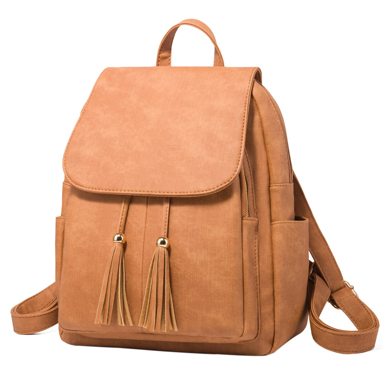 Fashion Shoulder Bag Rucksack PU Leather Women Girls Ladies Backpack Travel bag (Brown)