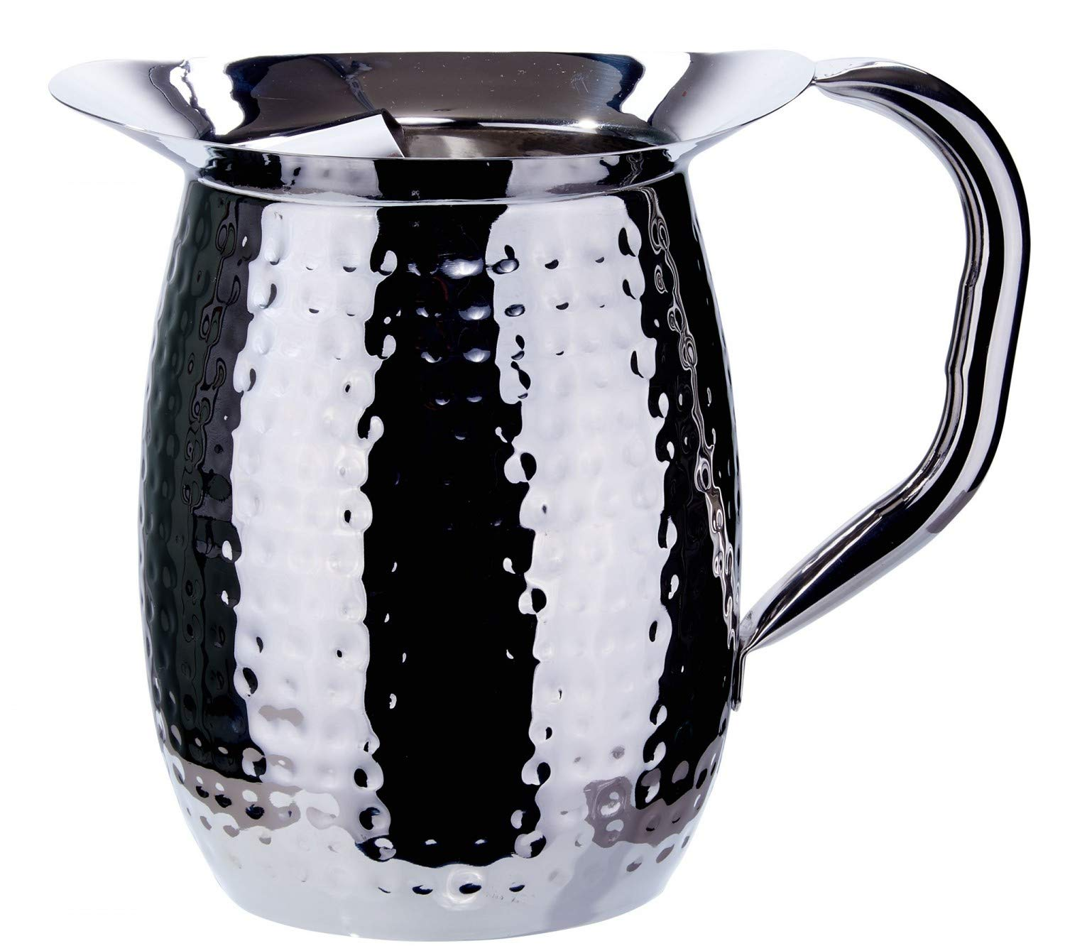 Winco WPB-3CH, 3-Quart Stainless Steel Bell Pitcher with Ice Guard,Sophisticated Carafe, Hammered (6 PACK)