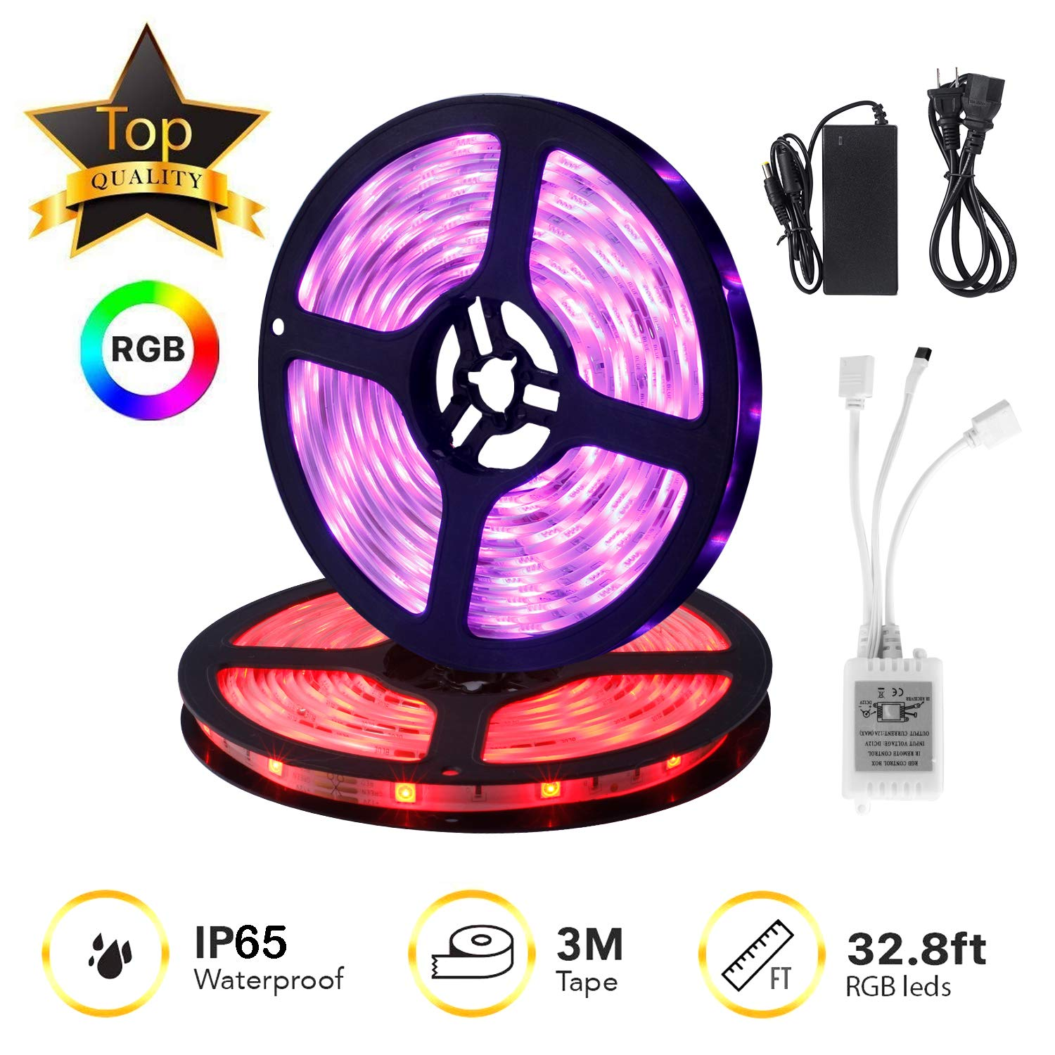 IKAAMA LED Strip Lights Kit 12 32.8ft/10M 300 LEDs SMD 5050 RGB, 44 Key Remote Controller, Flexible Changing Multi-Color for TV Home Kitchen Bed Room Decoration with Strong Adhesive 3M Tape