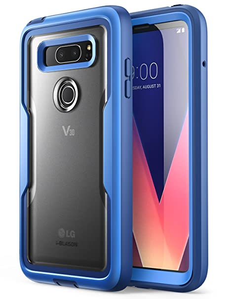 i-Blason LG V30 Case, [Heavy Duty Protection] [Clear Back] [Magma Series]  Shock Reduction/Full body Bumper Case with Built-in Screen Protector for LG