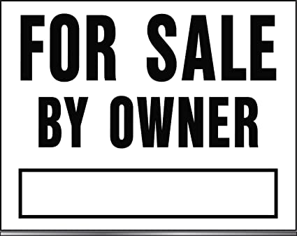 """/""""For Sale By Owner/"""" Black /& White //w stakes  18 x 14-In. Sign"""