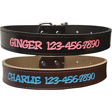 381b6c15a719 Personalized Dog Collar - Custom Leather with 4 Bold Text Styles and 8 Text  Colors,