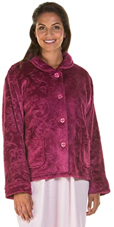 Damas, con cremallera hasta tacto suave paño grueso y suave relieve de la bata, con cremallera del traje 6623: Amazon.es: Ropa y accesorios