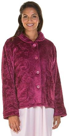Lady Olga Soft Feel Embossed Fleece Nightwear In 3 Styles Zip Gown