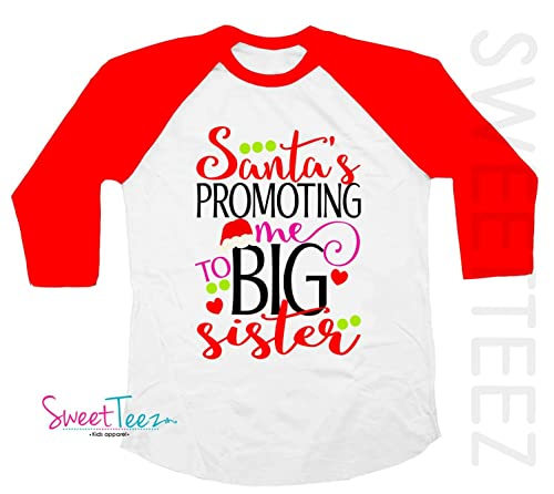 Santa Promoted Me To Big Sister Pregnancy Announcement T-Shirt For Christmas