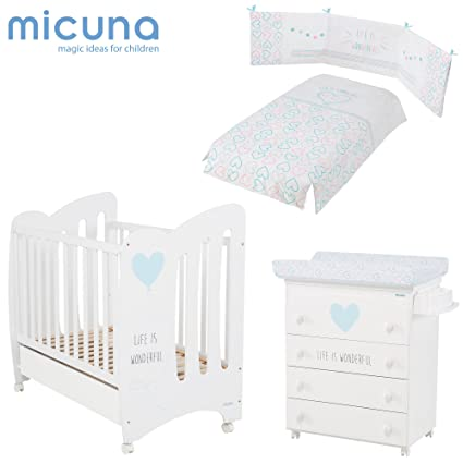 MICUNA - Pack Wonderful Blanco/Azul: Cuna (120 X 60) + Bañera