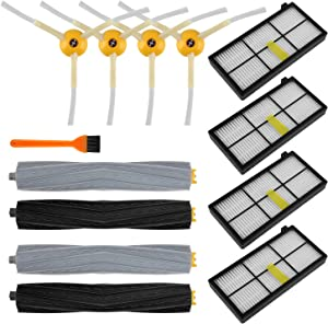 Doitby Replacement Parts for iRobot Roomba 800 900 Series 980 960 890 880 871 870 860 805 Vacuum Cleaner, Replenishment Kit with 2 Set of Debris Extractors 4 Filters 4 Side Brushes & Screws