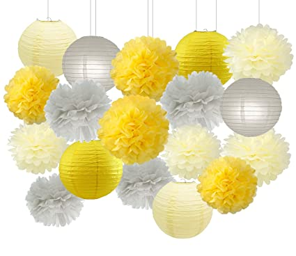 Amazon Yellow Grey Elephant Baby Shower Decorations Furuix 16