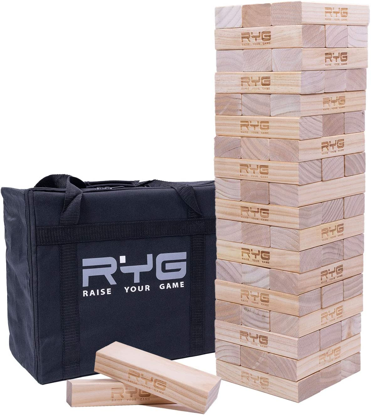 Raise Your Game Giant Wooden Tower (Stacks to a Maximum of 5 feet), Large Tumbling Block Timbers , Wood Stacking Game Jumbo Backyard Set with Carrying Case