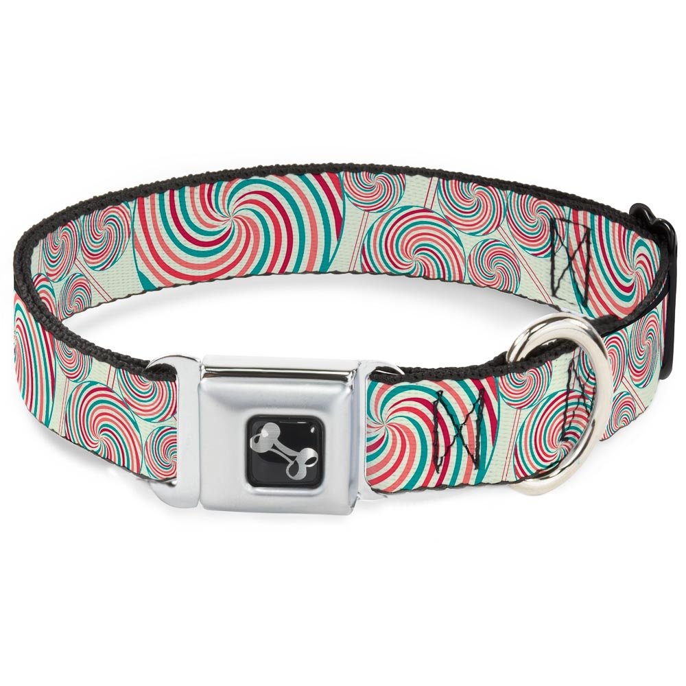 Buckle-Down Lollipops Dog Collar Bone, Wide Small 13-18