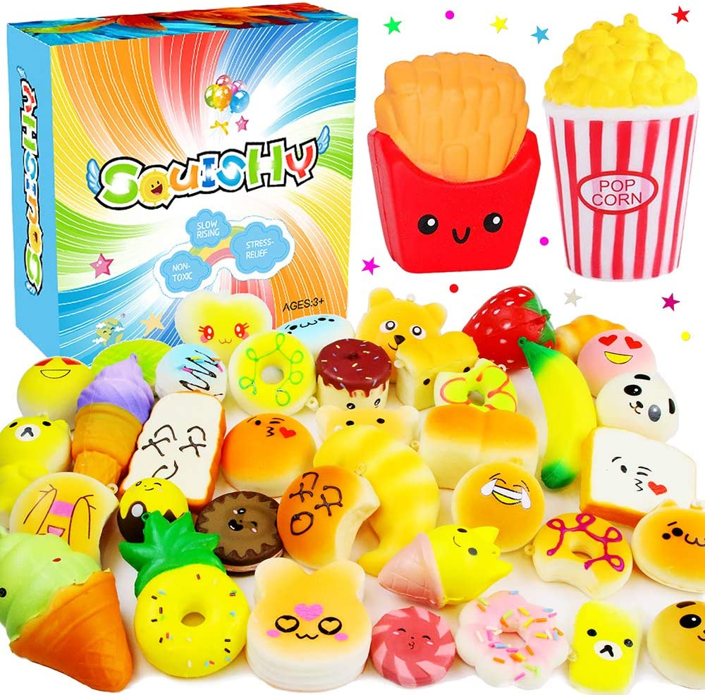 Jumbo Slow Rising Squishies Pack - Squeeze Scented Stress Reliever Toys for Girls and Boys Jumbo Mini Random Mochi Squishy Kawaii Animals Popcorn Donuts Panda Bread Cake Fruits