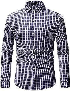 UUYUK Men Long Sleeve Plus Size Plaid Casual Lapel Button Down Dress Work Shirt