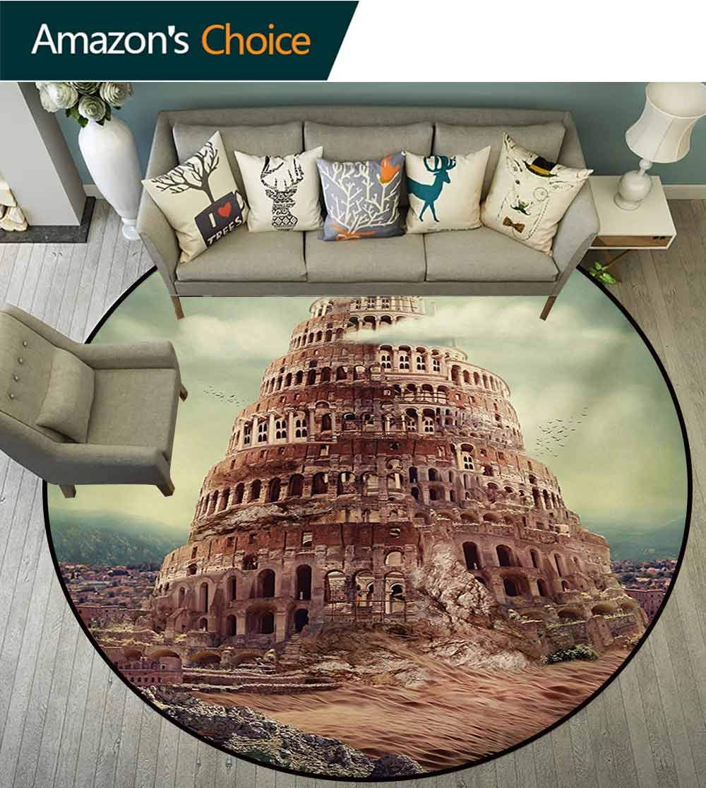 RUGSMAT Fantasy Computer Chair Floor Mat,Tower of Babel with Clouds Ancient Civilization Historical Architecture Art Printed Round Carpet for Children Bedroom Play Tent,Diameter-55 Inch