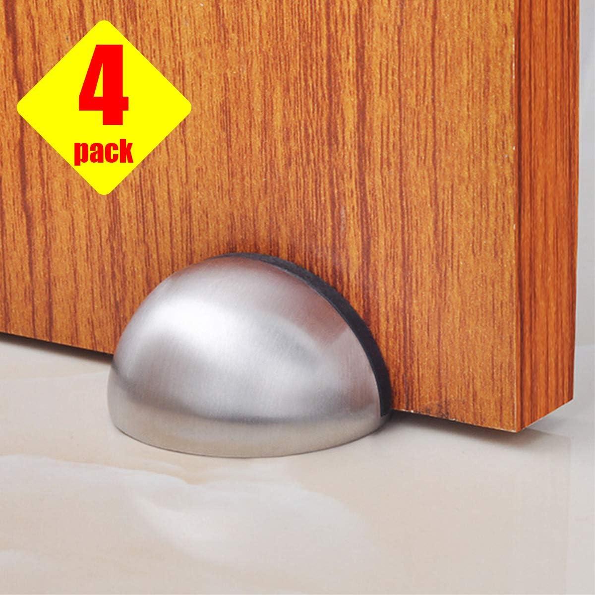 Door Stops, Magnetic Door Stopper,Stainless Steel Modern Soft-Catch Magnetic Door Stop,3M Adhesive Tape, No Drilling, Heavy Duty Brushed Satin Nickel Chrome Magnetic Door Stops, 4 Pack Silver