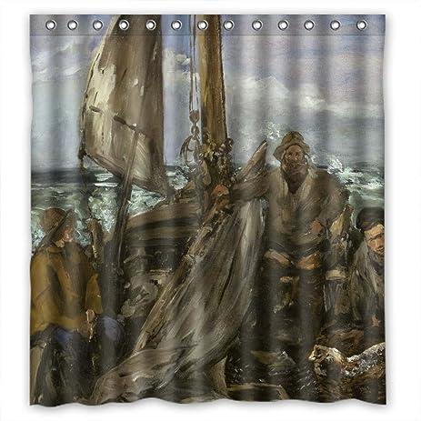 Amazon.com: Mikmoki Polyester Bath Curtains Of Edouard Manet Art ...