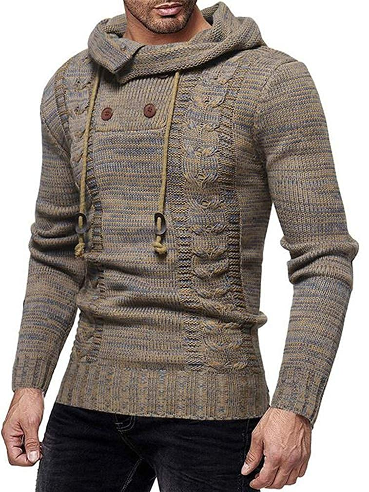 Hajotrawa Mens Knitted Padded Woven Burnout Button Hoodid Drawstring Jumper Sweaters