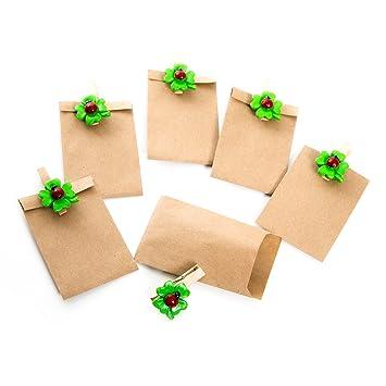 Juego 6 pequeños marrón Mini Bolsas de papel (6,3 x 9,3 cm) + 6